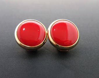 Vintage Red Earrings - Red And Gold Tone, Clip On Earrings, Costume Jewellery, Great Vintage Condition