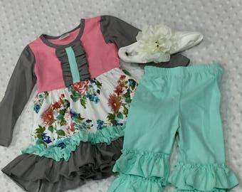 Mint/Floral boutique outfit