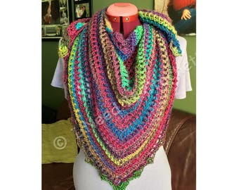 Shawl, Crochet Shawl, Wedding Shawl, Knit Shawl, Triangle Scarf, Shawlette, Triangle Shawl, Pink, Bue, Green, Yellow, Crochet Triangle Scarf