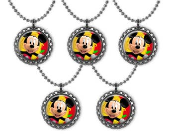 5 Disney MICKEY MOUSE 3D Bottle Cap Necklace Birthday Party Favors