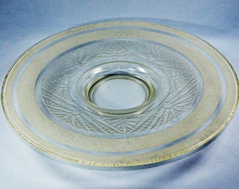 Art Deco French Carved Glass Plate