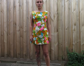 Fabulous Bill Sims 60s neon floral mini dress