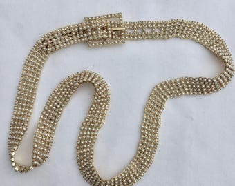 Fabulous mid-century pearl and gold metal belt