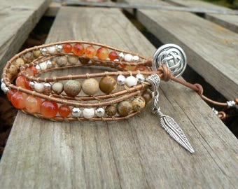 Wrap bracelet leather and pearls