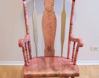 Email for shipping quote. See below. Rocking Chair,  Rustic Rocking Chair, Pink Rocking Chair, Nursery, Room Decor, Childrens Furniture,