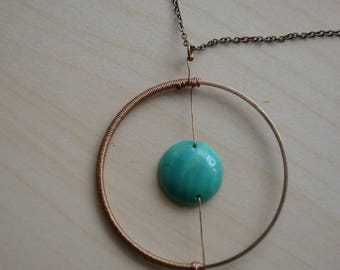 Golden Circle Pendant Necklace and turquoise Pearl