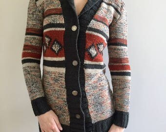 Merino wool sweater Knitted sweater Handmade sweater Knit sweater Tribal sweater Knited cardigan  Multicolor cardigan