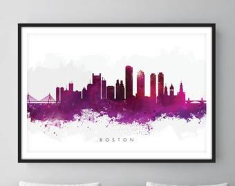 Boston Skyline, Boston Massachusetts Cityscape Art Print, Wall Art, Watercolor, Watercolour Art Decor [SWBOS08]