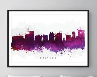Orlando Skyline, Orlando Florida Cityscape Art Print, Wall Art, Watercolor, Watercolour Art Decor