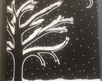 WINTER NIGHT - Monochromatic Snowy Night Scene Black/White