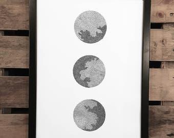 White Space 6, A3 Art Print, Hand Drawn, Original Art