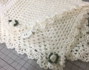 Victorian style, infant / Baby / child blanket, roses embellish each of the four corners. Approximate size is 40 x 42