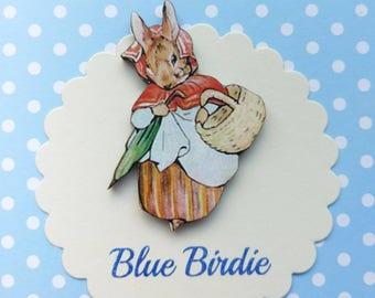 Mrs Rabbit brooch Beatrix Potter badge wooden Mrs rabbit badge Peter rabbit jewellery vintage book gifts