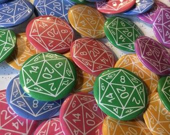 D20 dice pin badge
