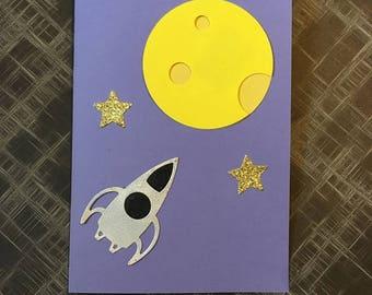 Rocket ship greetings card