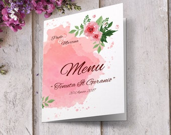 Wedding menu can be coordinated with invitations. Floral watercolor style. In shades of pink. Wedding menu.
