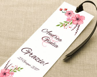 Placeholder wedding. Bookmark thank you wedding. Placeholder floral with Peach Blossom notes, with or without Ribbon.