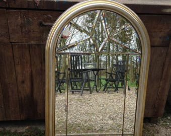 Mirror Fascettenschliff wall mirror with gold frame wood frame vintage