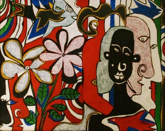 Art modern art outsider art painting 'Tropicana'by Alfred Halliday Art