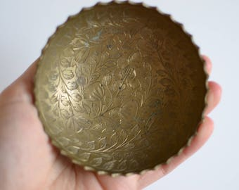 Small Vintage Floral Brass Dish