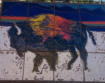 Colorful Winter Buffalo and Northern Lights Glazed Tile