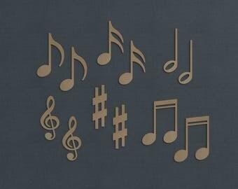 "Music Note Cutouts, Mini Pack, 6"", Wood Cutout, DIY, Unfinished"