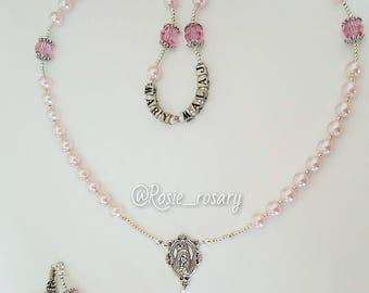 swarovski pearls rosary, rosaline pearls, baptism rosary, communion rosary, birthday rosary