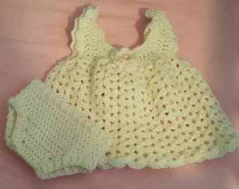 Crochet Newborn Dress with diaper cover