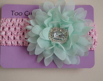 Pink and Mint Green Floral Headband with Rhinestone Embellishment