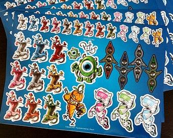 Board of 32 original creatures stickers