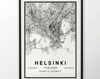 Helsinki City Map Print, Modern Contemporary poster in sizes 50x70 fit for Ikea frame All city available London, New york Paris Madrid Rome