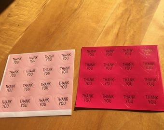 160 THANK YOU pink heart stickers package