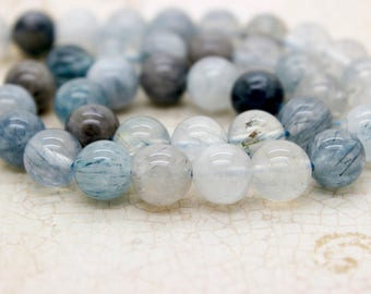 Blue Quartz Rutilated Round Beads Gemstone Natural Stone (8mm 10mm)