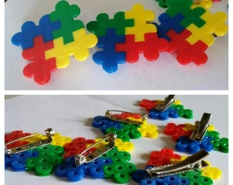 Puzzle Piece Hair Clips