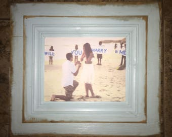 8x10 opening distressed aqua blue picture frame