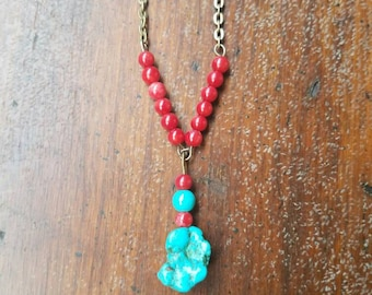 Blood torquoise goddess necklace