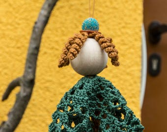 """Unique crocheted Mary Jane """"Maggie"""" wool and yarn with curls / guardian angel as a gift / decoration to hang"""