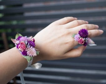 Pink Fox Tail Shower: Bridal Shower Wrist Corsage & Flower Ring | Flower Wrist Corsage | Bridal Shower | Dried Flowers