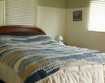 Big, soft and very warm handmade queen sized crocheted blanket
