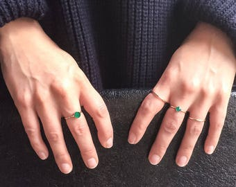 Green agate ring | 14k gold filled