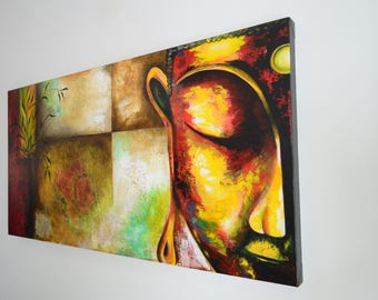 Meditation - Buddhist Interpretation Painting for Home Decoration (made with Acrylic)
