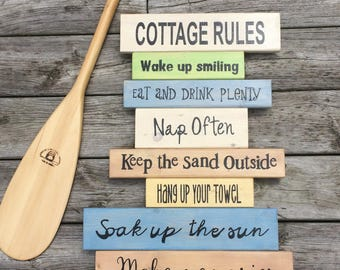 Cottage Rules Painted Wooden Sign