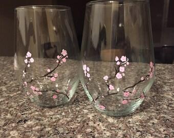 Cherry Blossom Hand Painted Wine Glass
