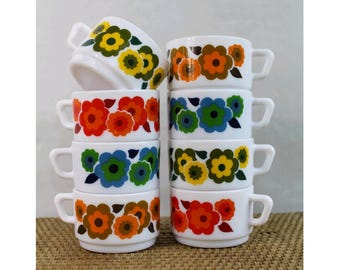 1970 arcopal france floral cups / 70s french expresso cups/ set of 8 70s cups