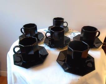 """Service coffee - cups - espresso """"ARCOROC"""" black"""