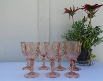Glass Arcoroc rosaline - French glasses from the 80s - water glasses or apperitif glasses
