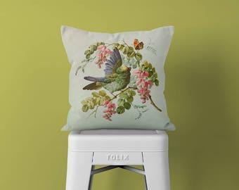 Neutral Pillow - Bird Throw Pillow - Pillow Sham - Pillow Cover Green - Home Decor -  Decorative Pillow - Textured Pillow - Accent Pillow