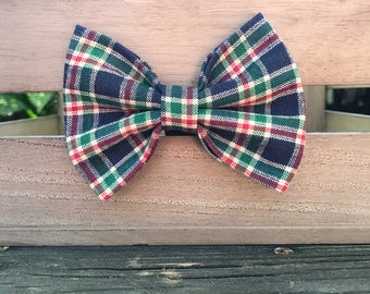 Plaid dog bow tie, Navy blue, red, and green dog bow tie
