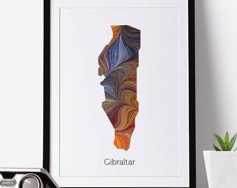 Gibraltar Print, Gibraltar Map, Gibraltar, Office Decor, City Map Prints, Map Art