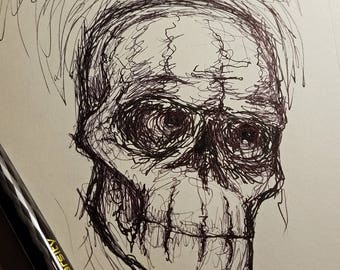 skull drawing. pen,ink,drawing, art